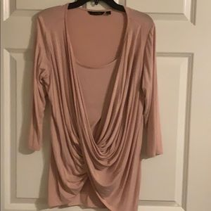 H by Halston Twisted Drape Front 3/4 sleeve mauve